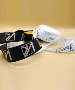 Branded satin ribbon with logo print